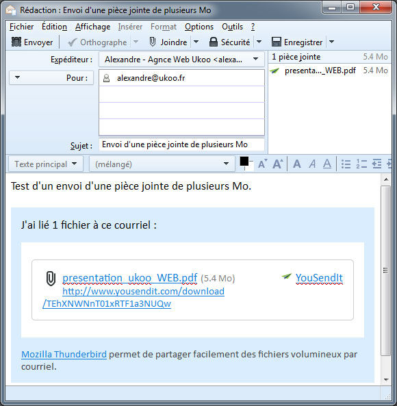 thunderbird   envoyer de gros fichiers avec filelink