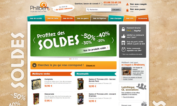 Page d'accueil du site Philibert pendant les soldes d'été 2013