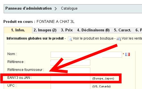 Le code EAN se rentre dans la fiche produit de Prestashop au niveau des informations globales.