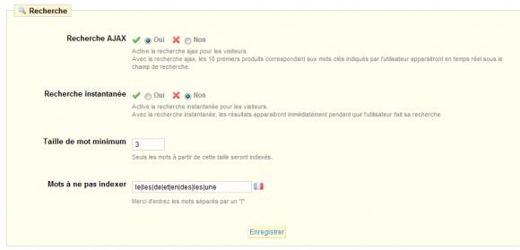 Configuration de la recherche PrestaShop