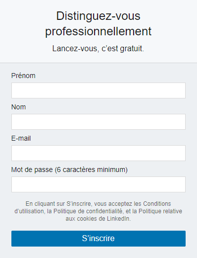 Formulaire d'inscription LinkedIn